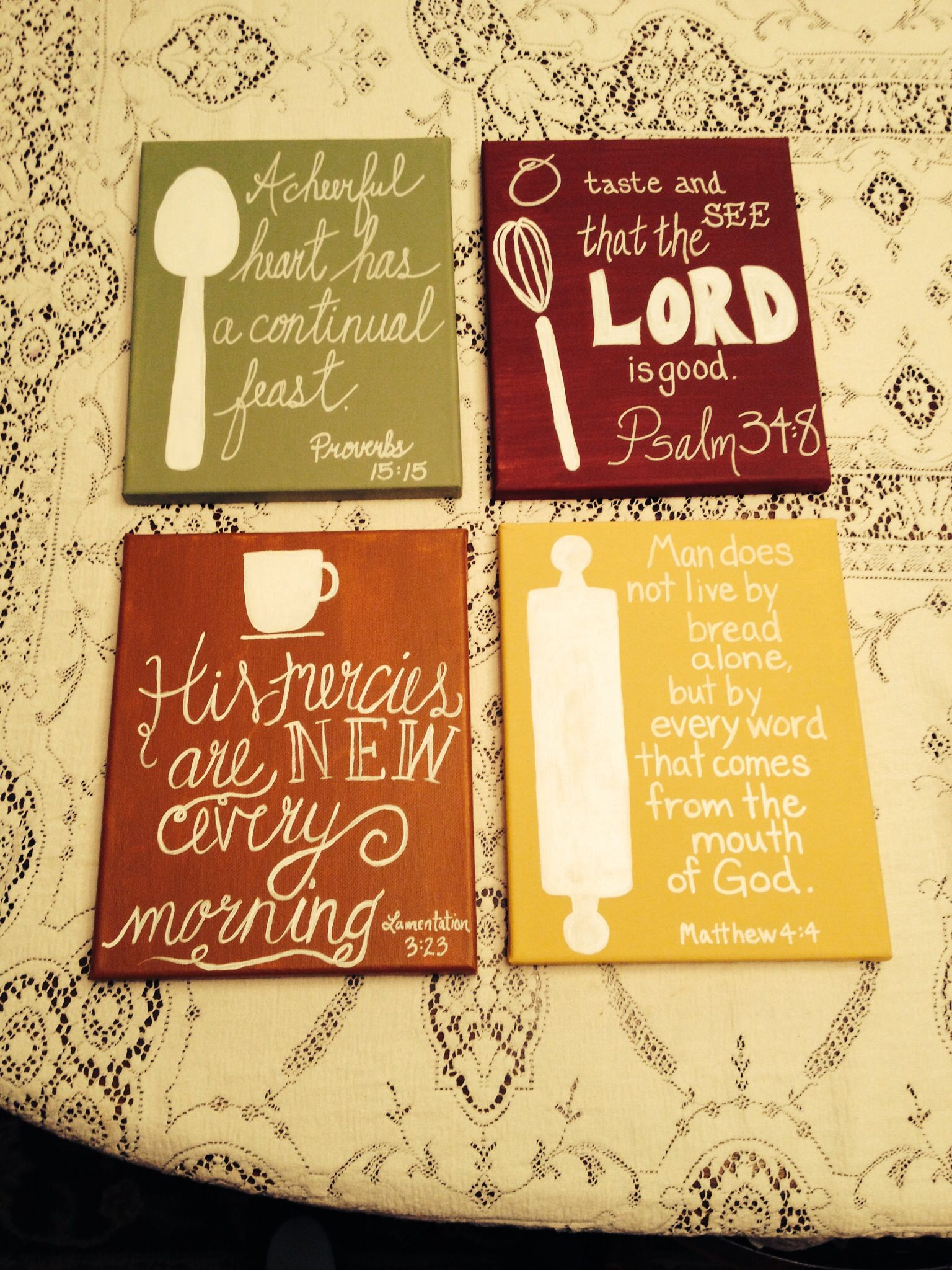 Scripture paintings I did for my kitchen!   Things I've ...