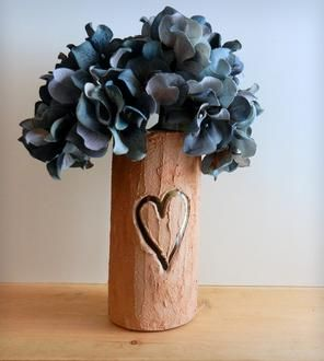 Carved Heart Tree Trunk Vase