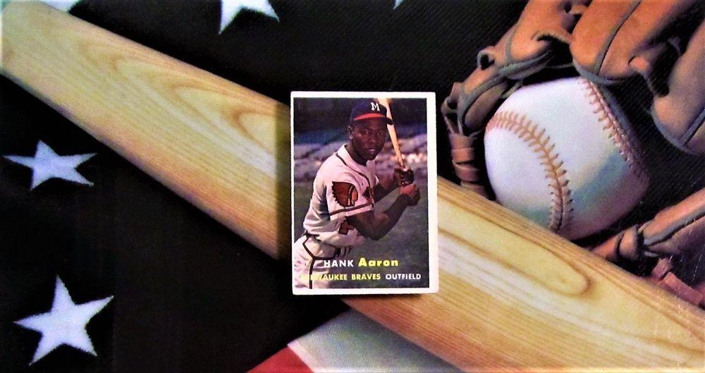 1957 hank aaron topps baseball card milwaukee braves 20