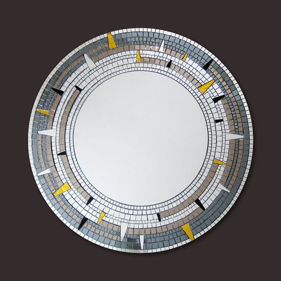 Large Round Mirror Mosaic Mirror Gold Silver And By Mirrorenvy