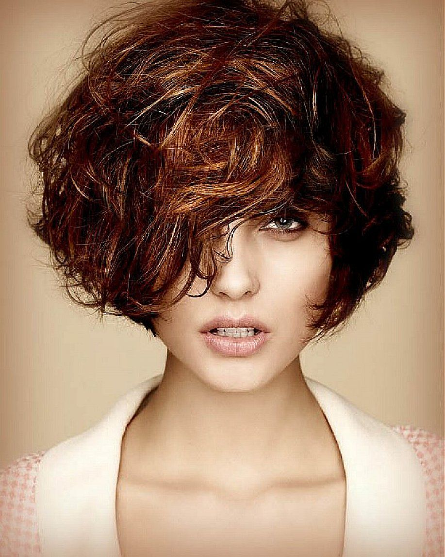 short wavy hairstyles with side bangs and brown hair for women with