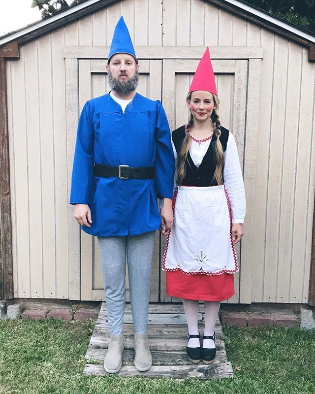 Couple's Halloween costume inspiration for a man with a beard - garden gnomes!  Costumes put together from thrift store finds - his jacket is actually a graduation gown :) #halloweencostumesformen