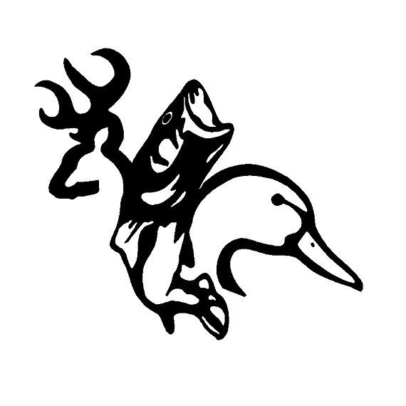 Buck Duck And Fish Browning Unlimited Family Decal Sticker
