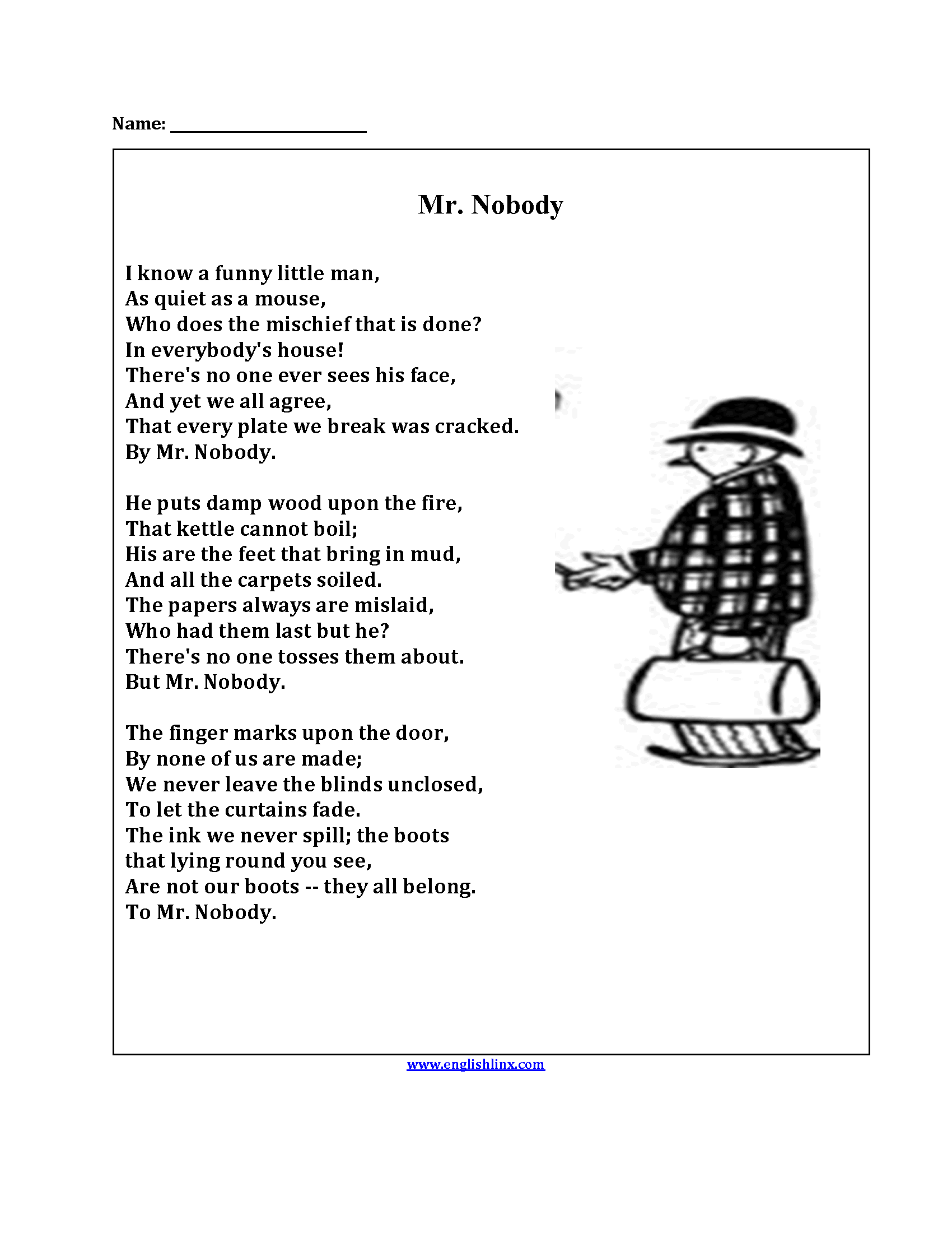 Mr Nobody Poetry Worksheets