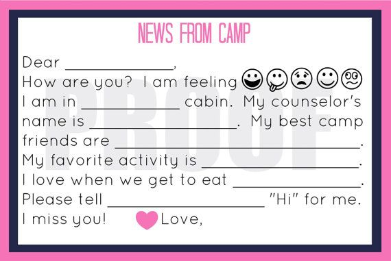 summer camp stationary, kids stationary printable, fill in