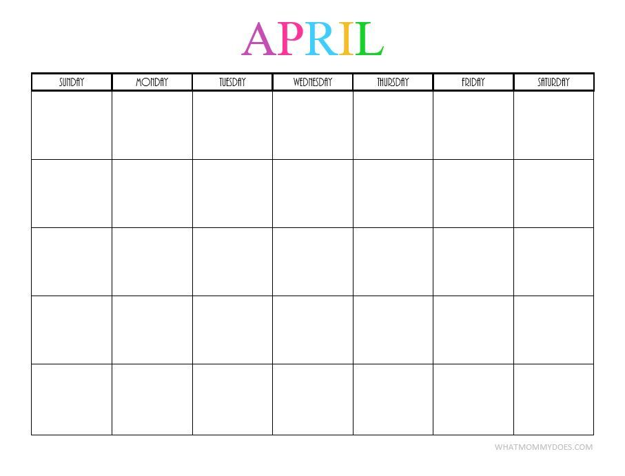 Free Printable Blank Monthly Calendars - 2017, 2018, 2019, 2020 - preschool calendar template