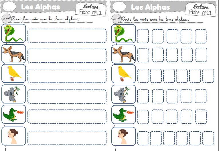 Relativ Fiches exercices encoder sons simples avec les alphas - la Fouine  NV75
