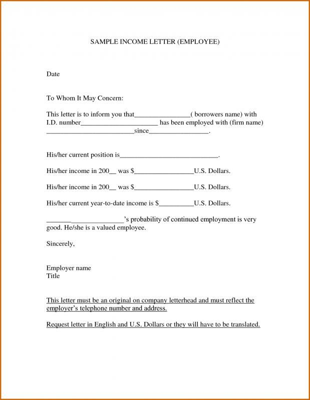 Proof Of Income Letter Letter Of Employment Lettering Letter Templates