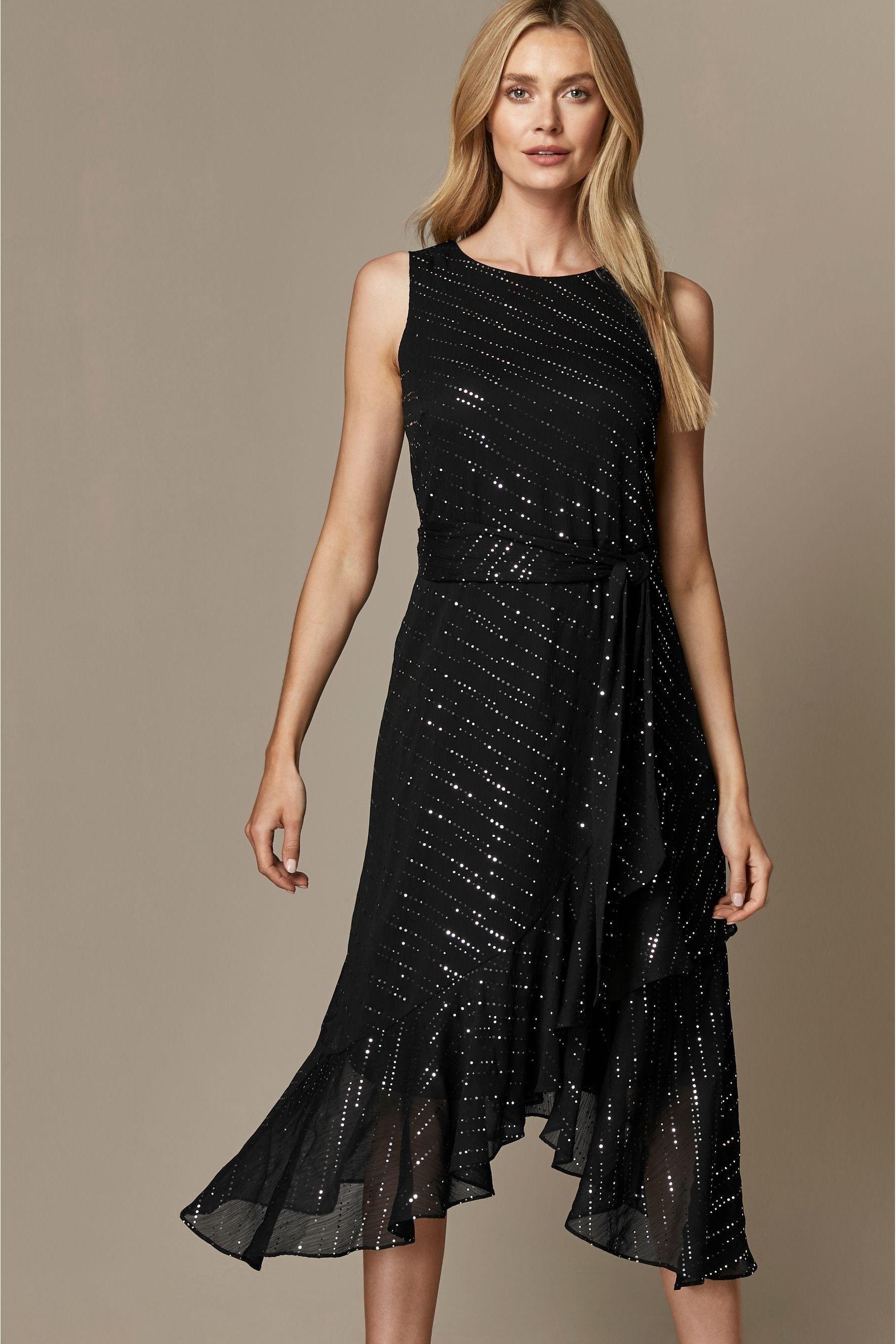Womens Wallis Black Twinkle Midi Fit Flare Dress Black Black Sparkle Midi Dress Fit Flare Dress Dresses