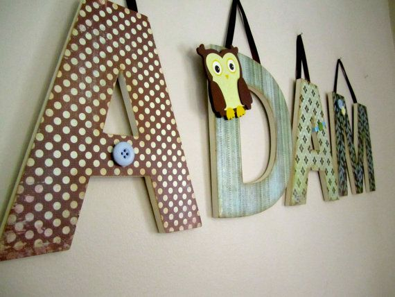 Custom Nursery Letters Little Owl Theme Hanging Wall Wooden Baby Shower Gift On Etsy 12 00