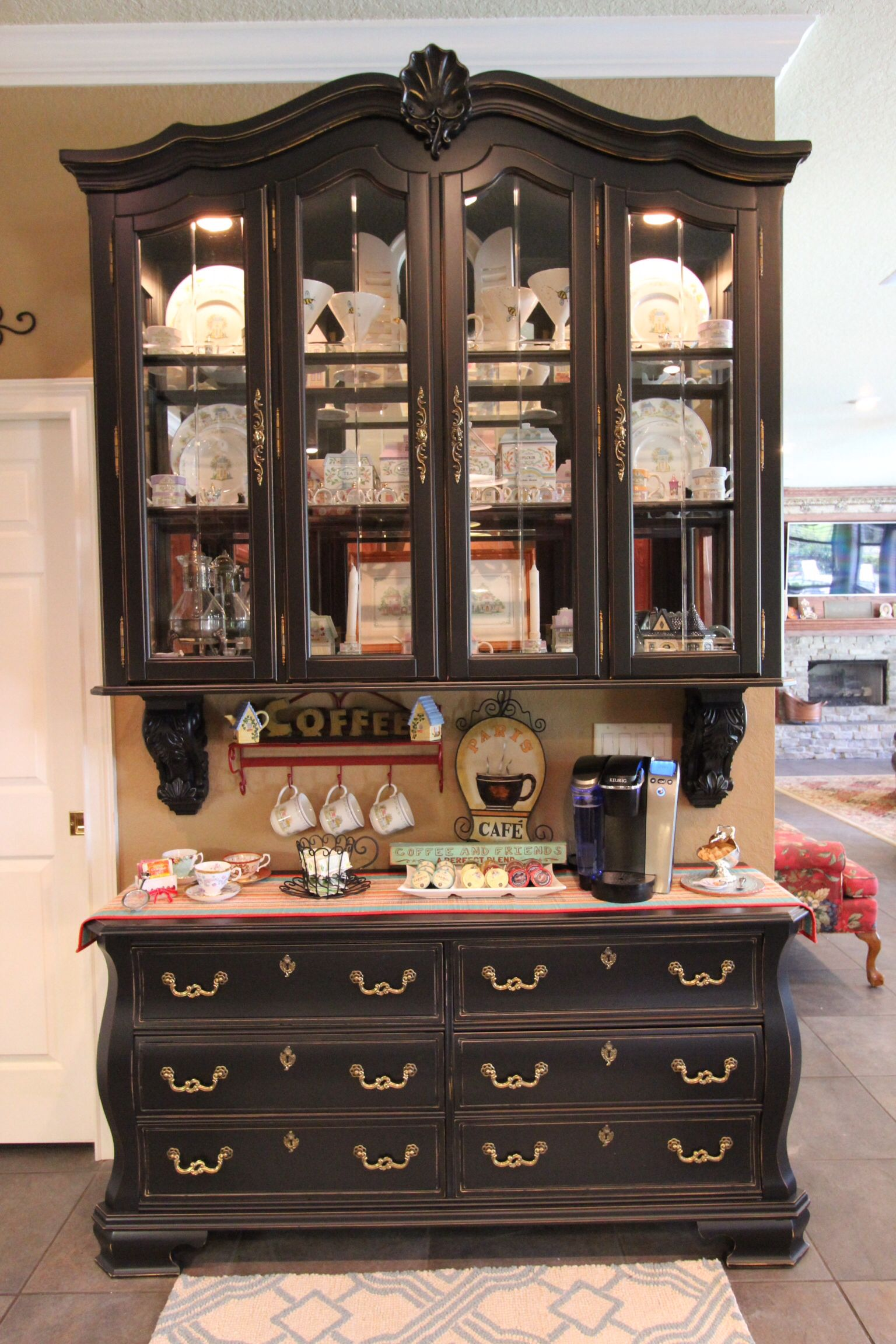 Repurposed china hutch coffee bars pinterest for How to build a dining room hutch