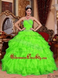beb7929ff55 Spring Green Ball Gown Sweetheart Floor-length Organza Beading Quinceanera  Dress