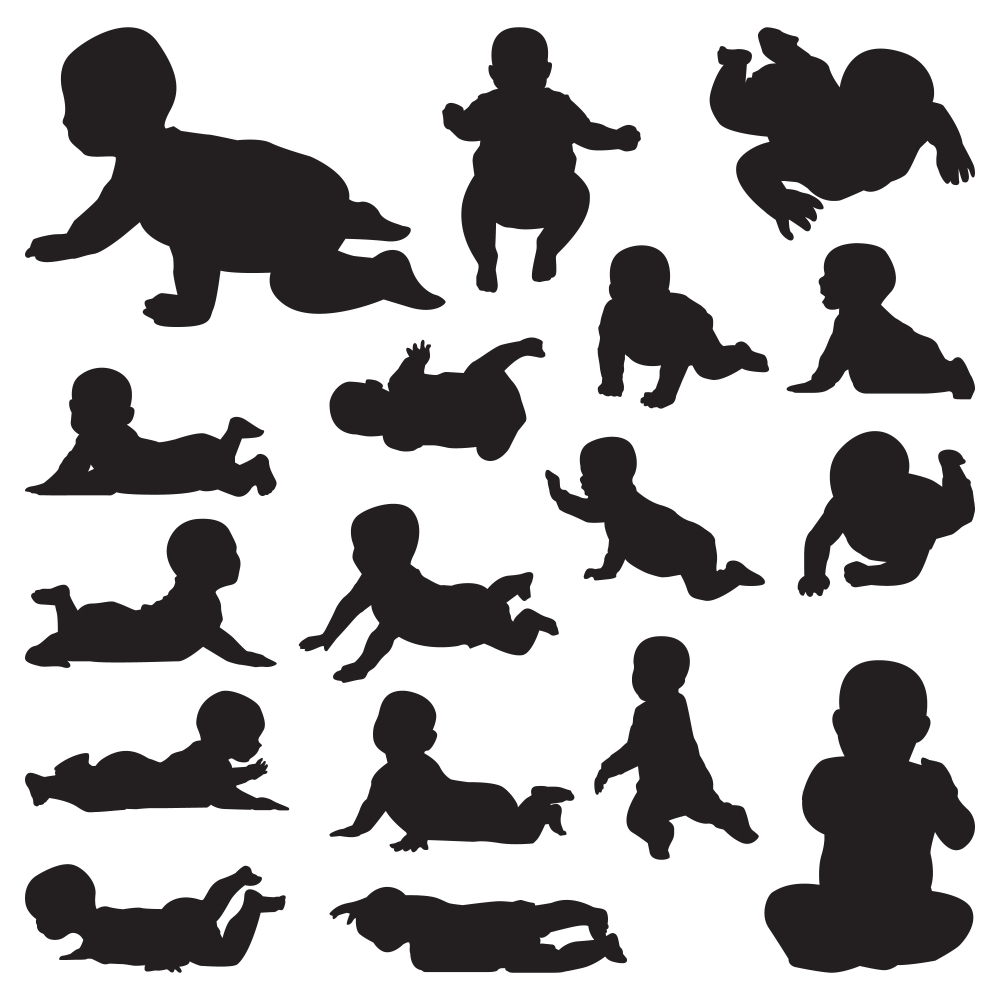 Baby Crawling Cute Black Silhouette Set Baby Silhouette Black Silhouette Crawling Baby
