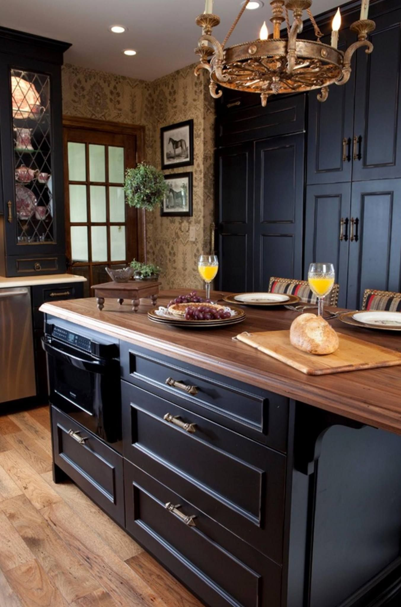Ebony Color W A Light Distressed Finished On Furniture Style Cabinetry Country Kitchen Designs Country Kitchen Black Kitchens
