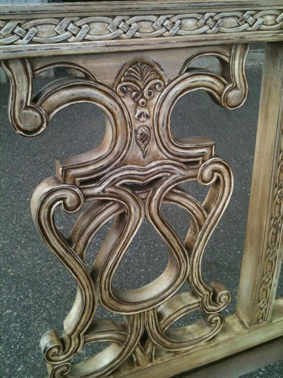 Custom carved settee by LiveLoveHome on Etsy, $999.00