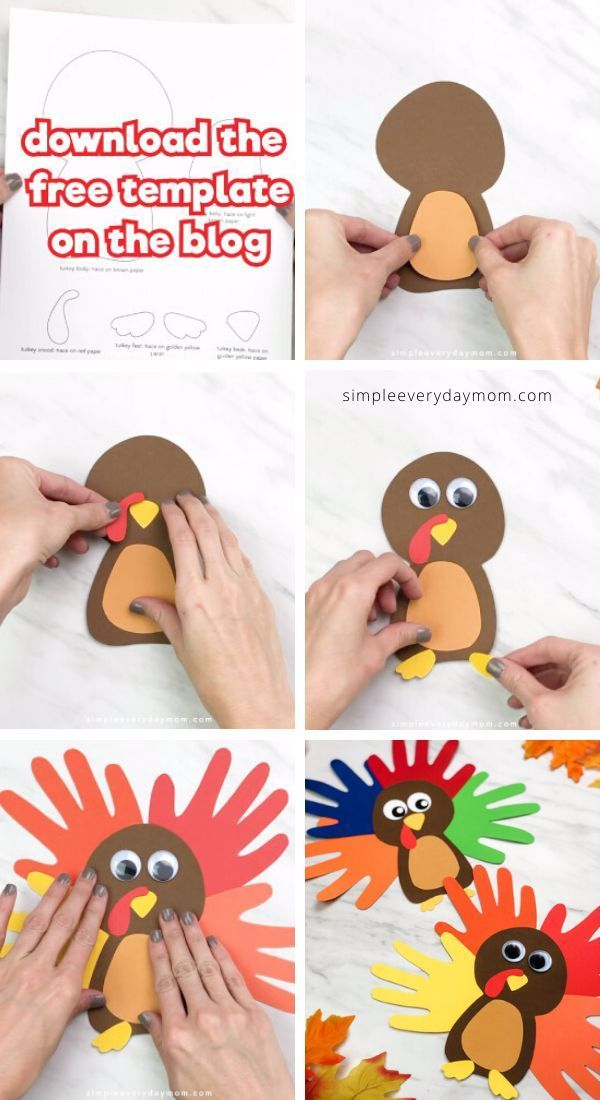 A Colorful Cute Turkey Handprint Craft For Kids Thanksgiving