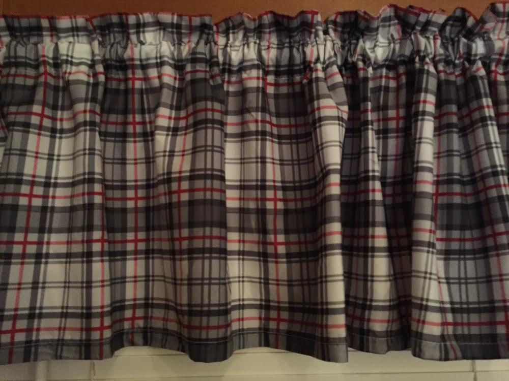 Gray Black Valance 65 Inches Wide