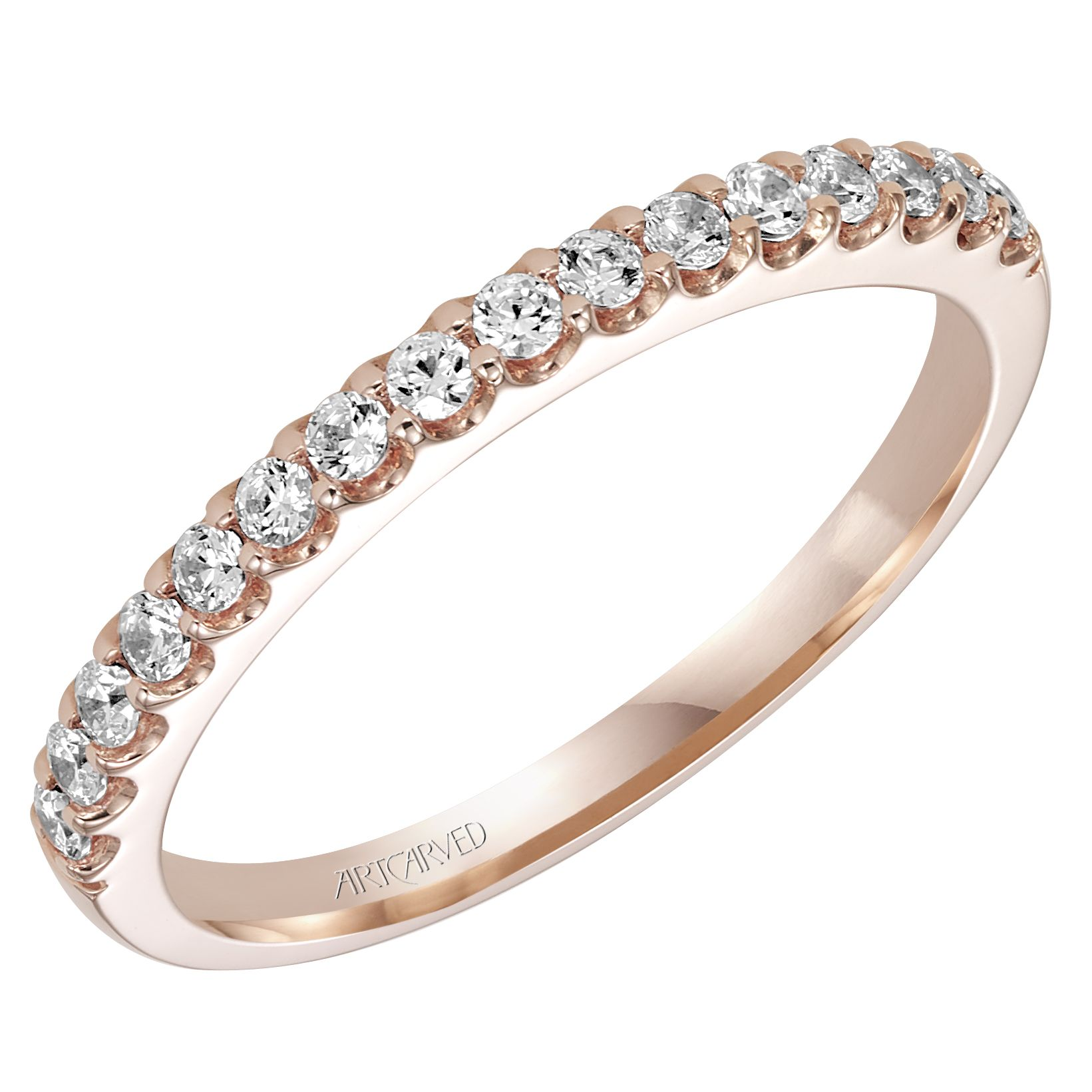 Rose gold diamond wedding band or anniversary band. Style