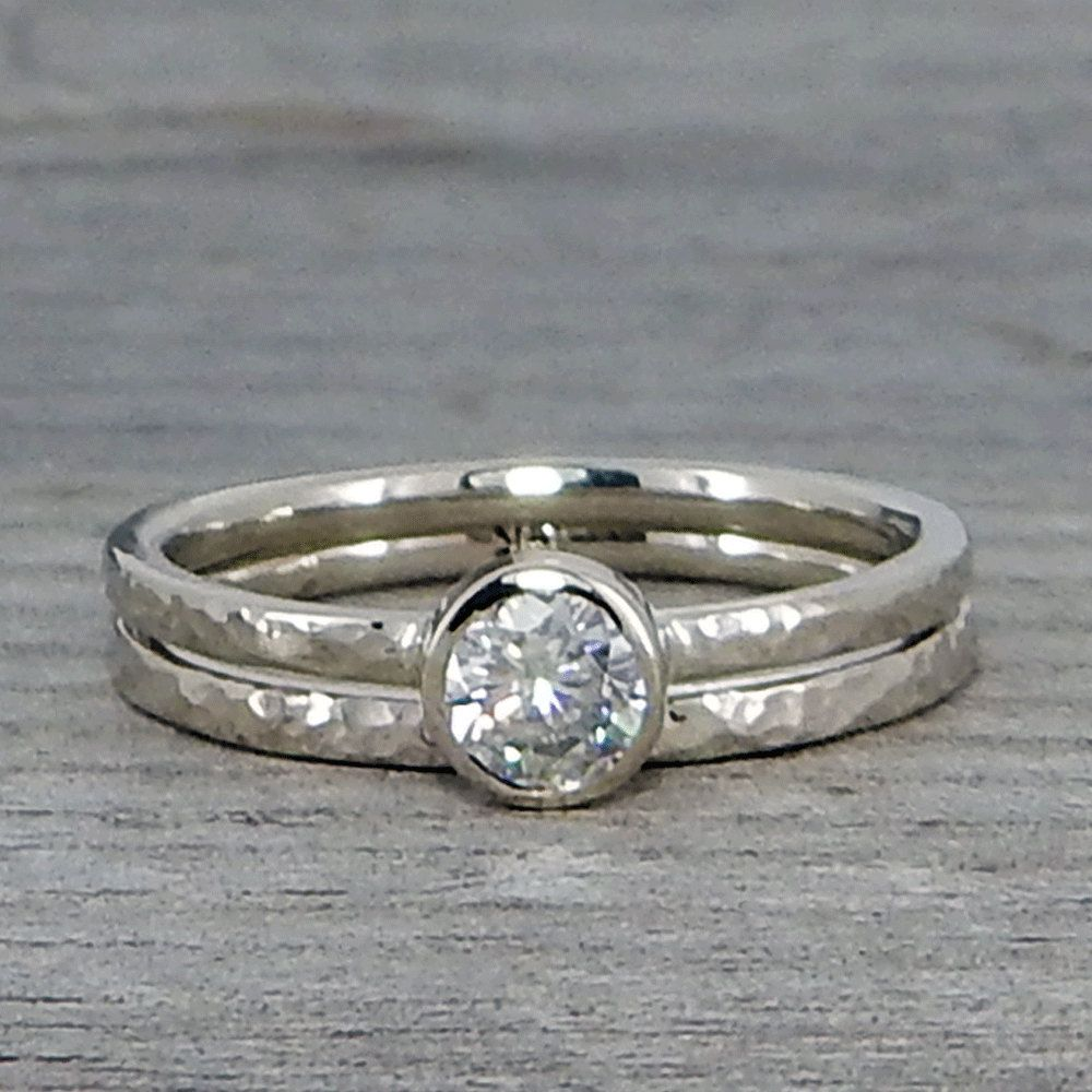Moissanite Engagement Ring and Wedding Band Set, Recycled