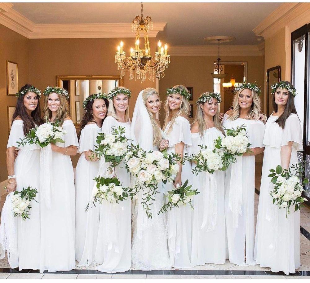 14 Times Bridesmaids Made Magic Wearing White White Bridesmaid Dresses White Brides Maid Dresses White Bridesmaid Dresses Long [ 913 x 1000 Pixel ]