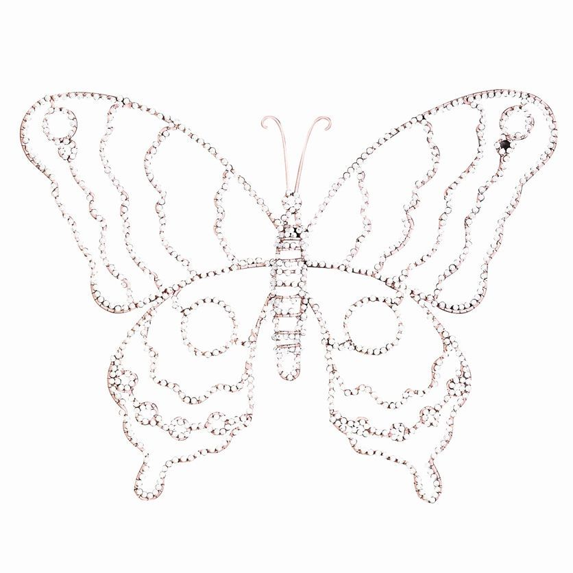 """Jubilee Collection Large Wire Beaded Butterfly in Pink/White - WA1004 $50.22 for set of 2 - Features: Beaded butterfly Combination of pink and white Constructed of metal Overall dimensions: 14"""" H x 18"""" W"""