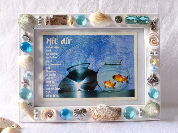 Photo of picture frame white turquoise, photo frame gift, embellished frame, nautical framed art, shell art, beach themed housewarming gift