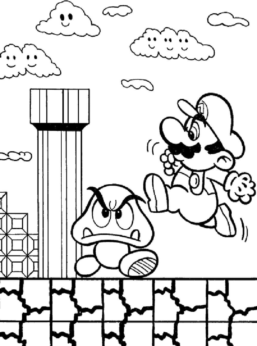 Mario bros coloring pages -  _ Mario Bros Printable Coloring Pages