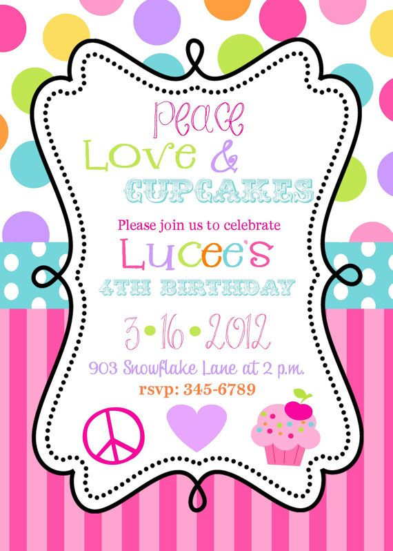 12 Peace Love Cupcakes Birthhday Party invitations with envelopes
