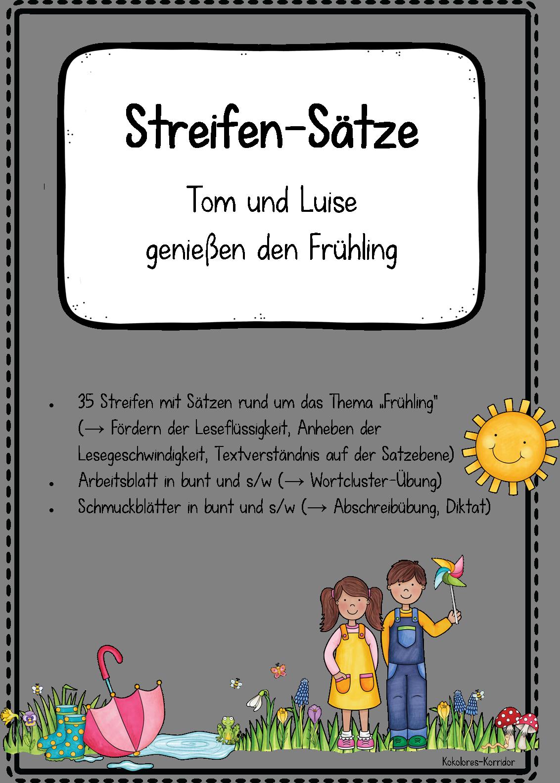 Streifen-Sätze: Tom und Luise genießen den Frühling – Deutsch ...