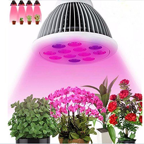 LEDMO LED Growing Lights / Bulbs For Indoor Plants And Vegetables,3 Band,  12W