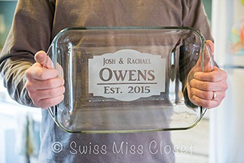 Personalized 9x13 Inch 3 Quart Glass Baking Dish Custom Engraved
