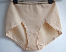 66306b4ca713 High Waist Control Panties / Beige Panties Retro Vintage 80's / High Cut  Lingerie Pin Up / Size 6 / Small