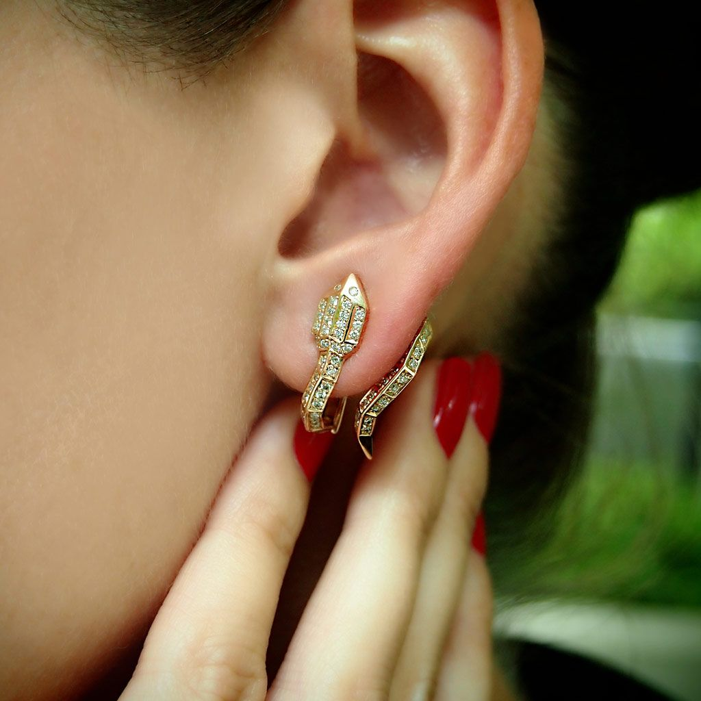 Python 18K Rose Gold Diamond Snake Earrings Plukka Shop Fine