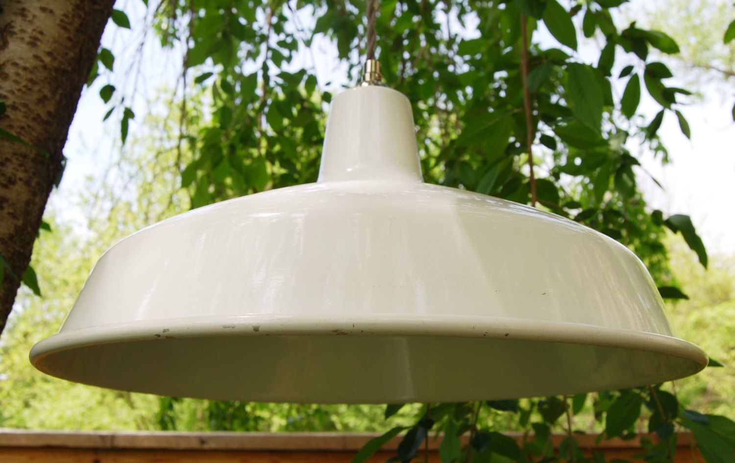 Insulator pendant light w white gas station shade and clear