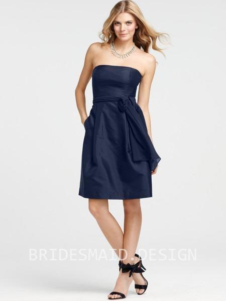 Beautiful Strapless Navy Blue Knee Length Bridesmaid Dress | SHORT ...