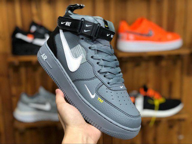 Nike Air Force 1 07 Mid LV8 Wolf Grey Black White 804609 105