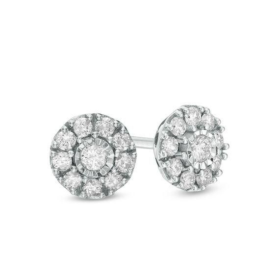 Zales 1/10 CT. T.w. Composite Diamond Stud Earrings in 10K White Gold r8xgFkdx7