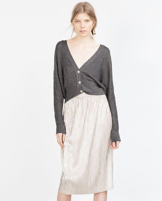 online store lace up in wholesale price Image 2 de JUPE ARGENTÉE PLISSÉE de Zara | Fall clothes ...