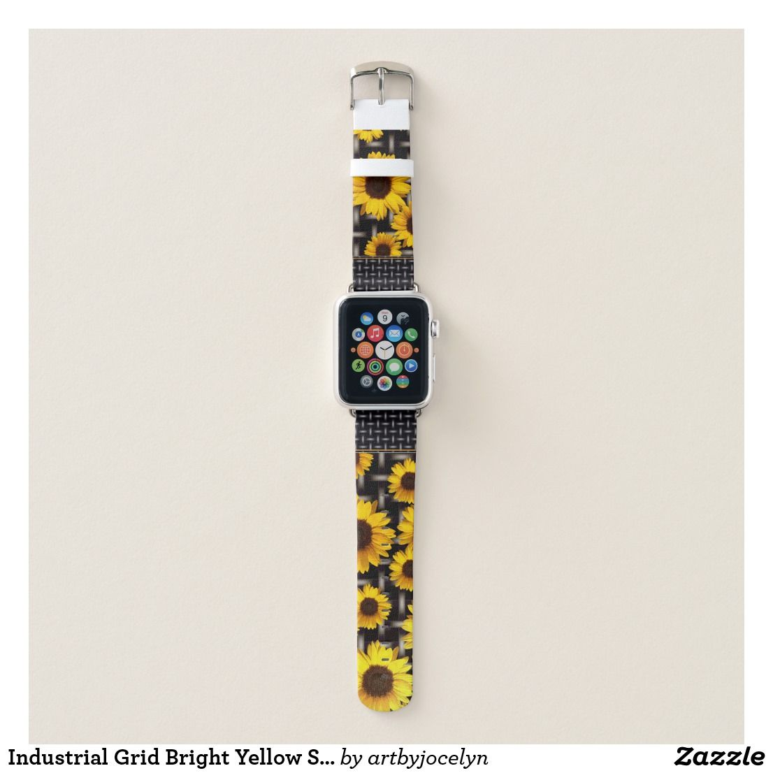Industrial Grid Bright Yellow Sunflowers Apple Watch Band