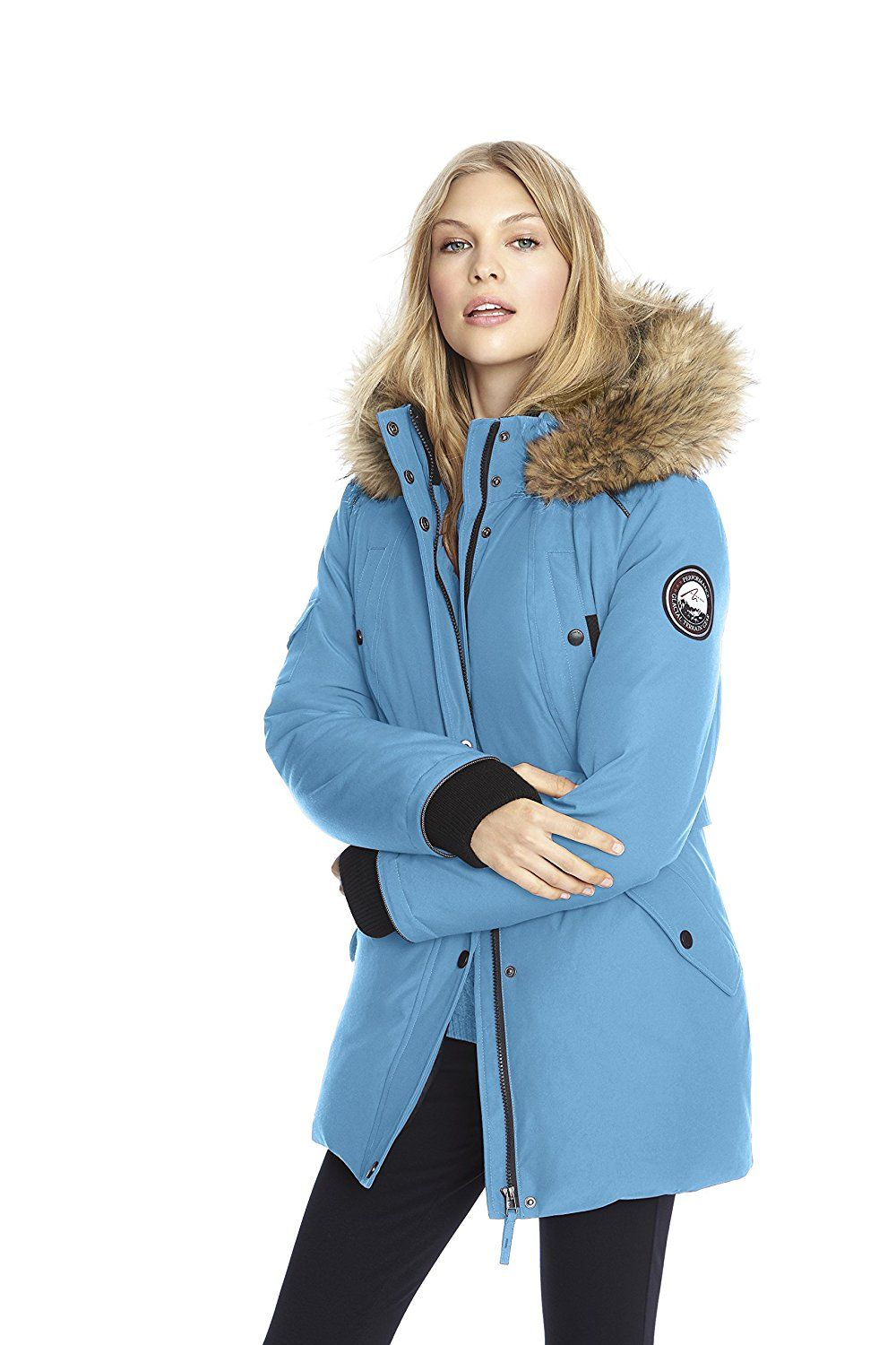 6788a17819c6 Amazon.com: Alpinetek Women's Down Mid Length Parka Coat (Small,  Turquoise): Clothing