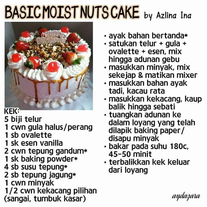 Basic Moist Nuts Cake Tart Recipes Food Resep Cake