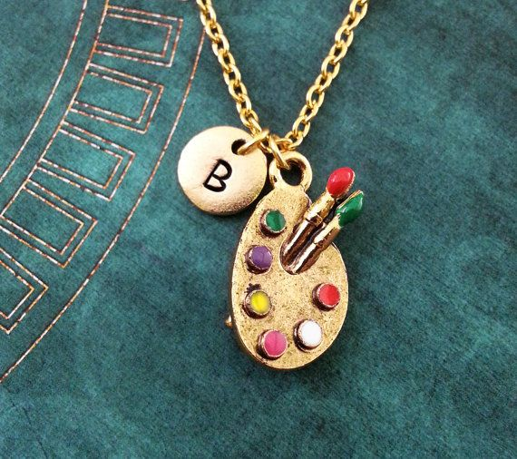 Paint Palette Necklace Gold Paint Necklace Personalized Jewelry