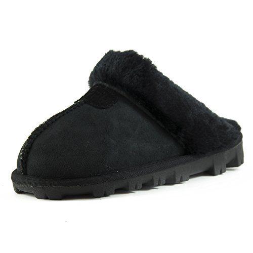 71b56daa51f7 Clpp li Womens Slip On Faux Fur Warm Winter Mules Fluffy Suede Comfy  Slippers-Black-9 Afranker http   www.amazon.com dp B00ZOFS1DO ref  ...