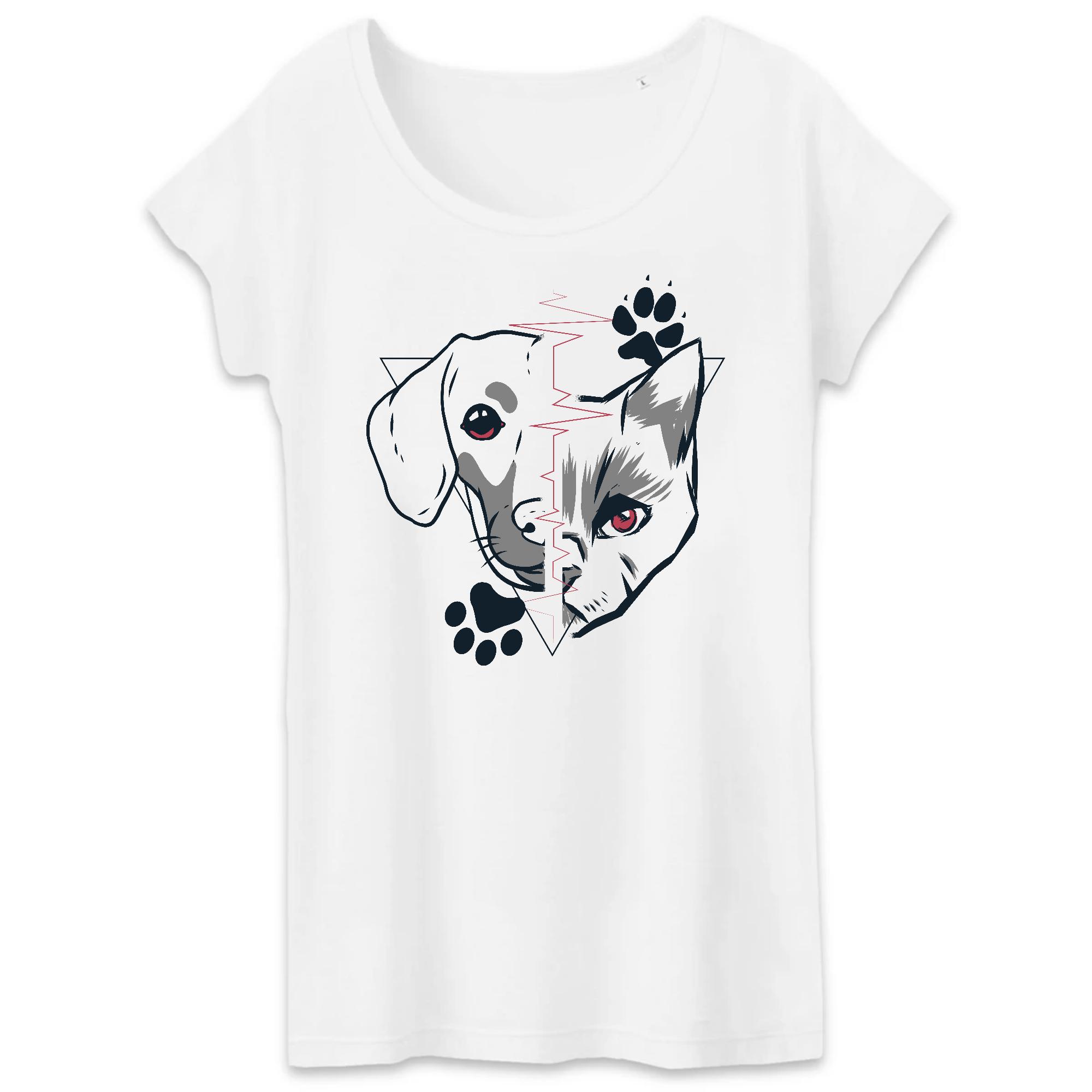 T-Shirt - BIO- Dog + Cat Heartbeat - Damen - 2XL / White
