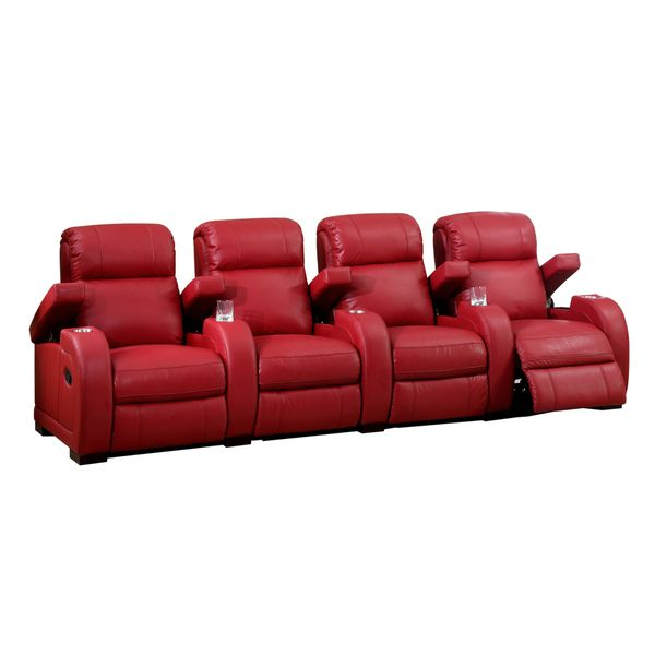 Ikea Sofa Bed Hugo Four Seat Red Top Grain Leather Recliner Home Theater Seating Set Overstock Shopping