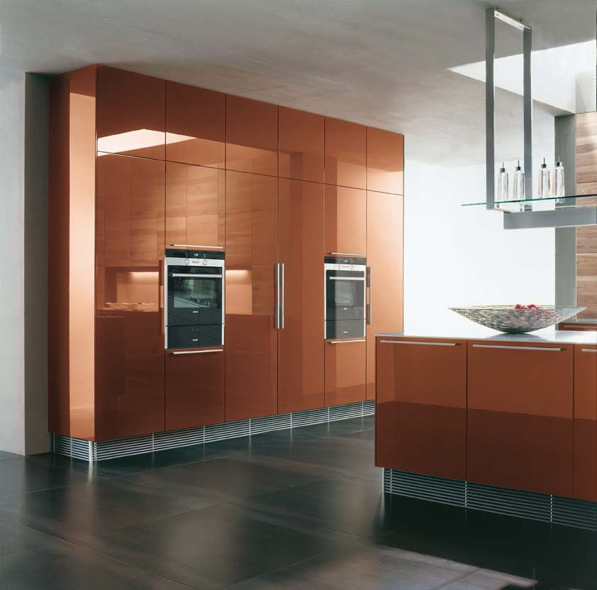 Copper kitchen cabinets. The tall cabinets are ceiling height and ...