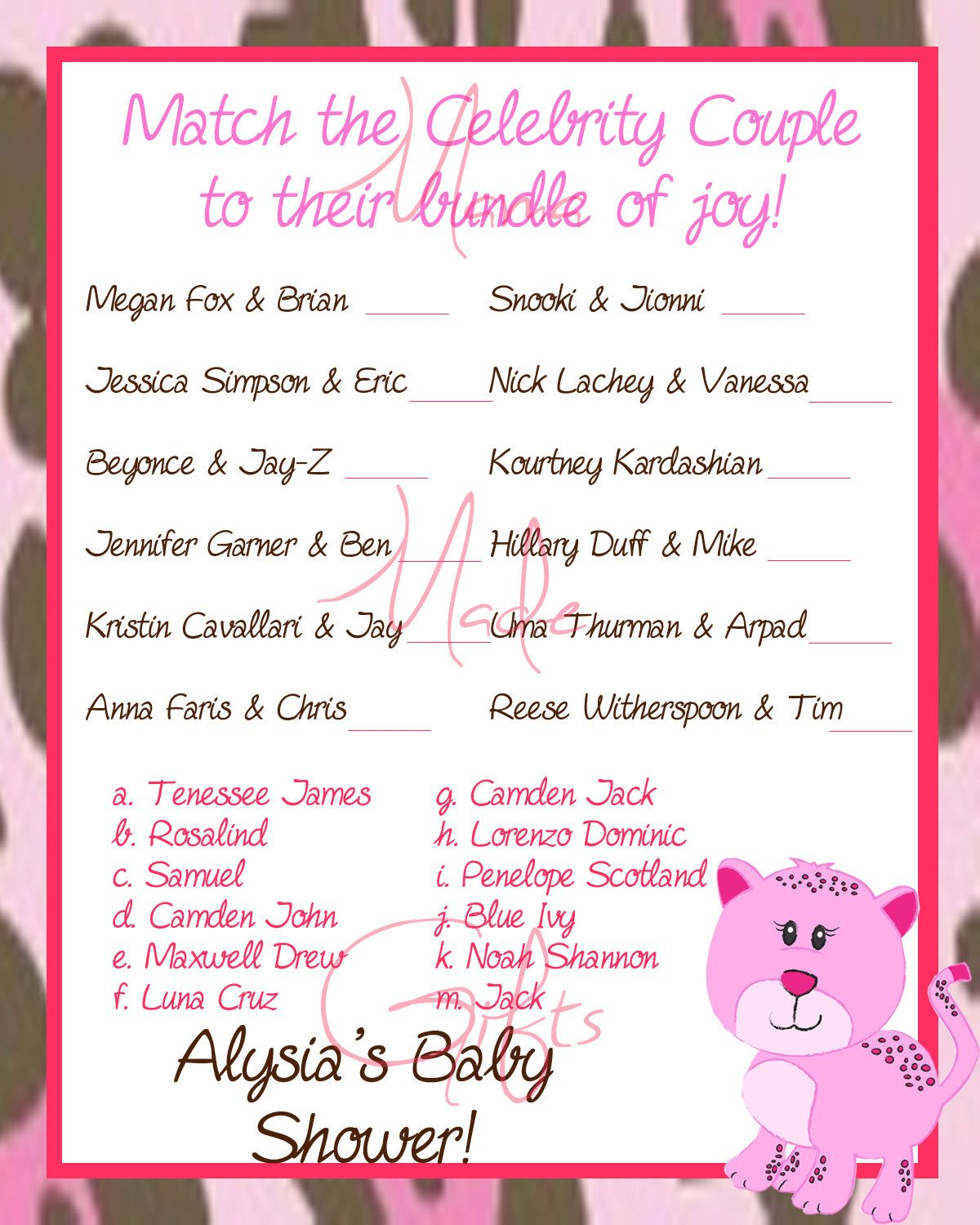 Printable Baby Shower Game - Celebrity Baby Name Game - Pink Leopard