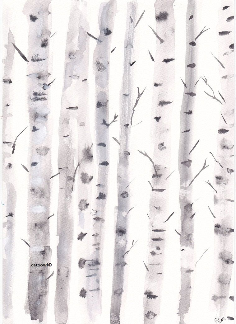 Original Art Birch Trees Original Watercolor Painting