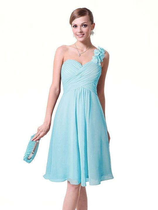f201d7beda One shoulder light blue prom dresses under 30 dollars for bridesmaids  junior prom party