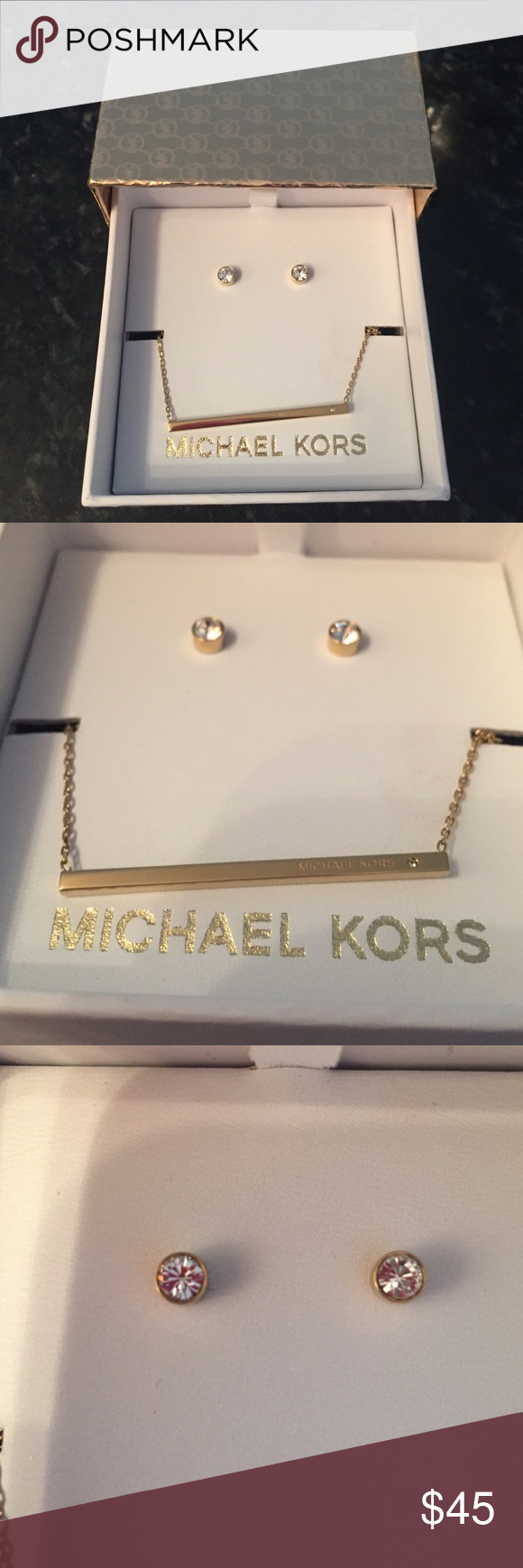 """MICHAEL KORS gold Bar Pendant & Stud Earrings Set BRAND NEW MK Bar Pendant and Stud Earrings Set Gold-Tone. Set includes necklace, earrings, & MK gift box. Lobster clasp closure on necklace. Post back closures; for pierced ears. Gold-tone plate metal/glass crystals. Approximate measurements: Necklace length: 16"""" + 2"""" extender Earring diameter: 5mm Michael Kors Jewelry Necklaces"""